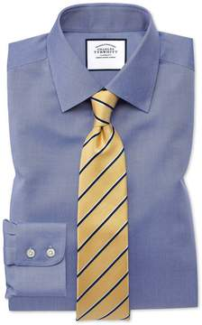 Charles Tyrwhitt Classic Fit Non-Iron Twill Mid Blue Cotton Dress Shirt Single Cuff Size 15/33