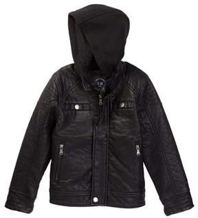 Urban Republic Buffalo Faux Leather Biker Jacket with Hood (Big Boys)