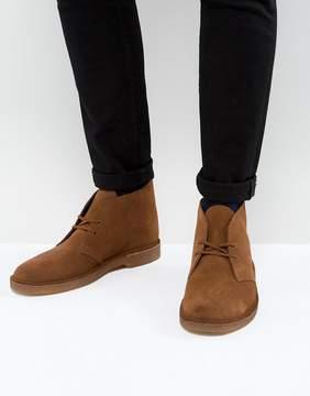 Clarks Suede Desert Boots In Tan