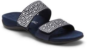 Vionic Samoa Studded Leather & Textile Banded Slip-On Sandals
