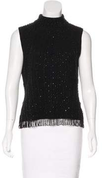 Brooks Brothers Embellished Wool Top