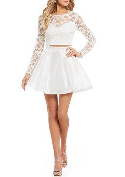 B. Darlin Long Sleeve Glitter Lace Top Two-Piece Dress
