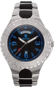Croton Men's Super C Quartz Black Dial Watch with Blue Markers & Stainless & Silicon Bracelet