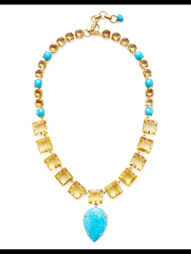 Bounkit Women's Turquoise & Citrine Convertible Statement Necklace