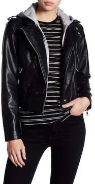 Blanc Noir Fleece Hood Textured Faux Leather Moto Jacket