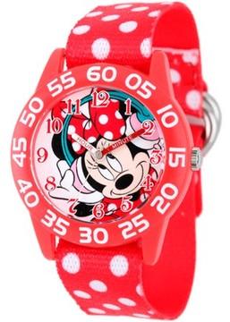 Disney Minnie Mouse Girls' Plastic Case Watch, Printed Stretch Nylon Strap