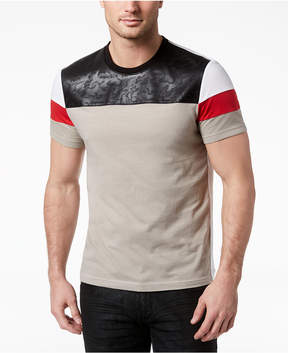 INC International Concepts I.n.c. Men's Faux Leather Colorblocked T-Shirt, Created for Macy's