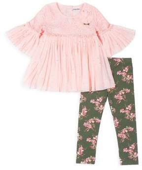 Little Lass Baby Girl's Pleated Top and Floral Legging Set