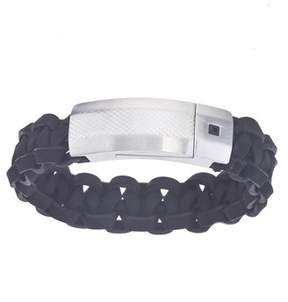 Armani Exchange Jewelry Mens Black Leather With Crystal Stainless Steel Bracelet With Magnetic Closure.