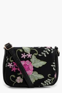 boohoo Eva Embroidered Saddle Bag