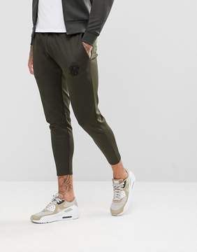 SikSilk Track Cropped Joggers In Khaki