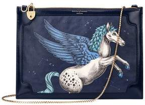 Aspinal of London | Soho Double Sided Clutch In Pegasus Blue Moon Print | Pegasus print blue moon polish