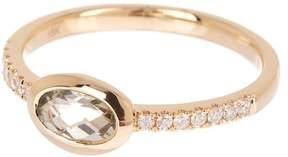Bony Levy 18K Yellow Gold Green Amethyst & Diamond Detail Ring - Size 7