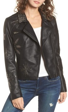 Blank NYC Women's Blanknyc Embellished Faux Leather Moto Jacket