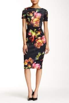 Alexia Admor Printed Scuba Midi Sheath Dress
