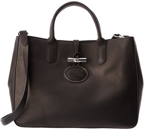Longchamp Roseau Heritage Small Leather Tote - BLACK - STYLE