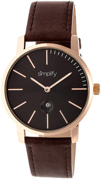 Simplify Brown & Rose Gold The 4700 Leather-Strap Watch - Unisex