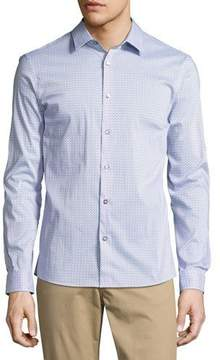 Michael Kors Printed Slim-Fit Stretch Shirt, Blue