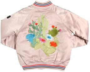 Finger In The Nose Embroidered Satin Padded Bomber Jacket