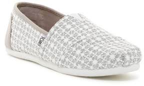 Toms Silver Lace Glimmer Slip-On Shoe (Little Kid & Big Kid)
