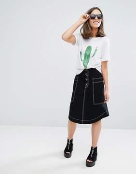 Monki Pocket Midi Skirt