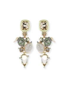 Alexis Bittar Crystal Encrusted Lime Cluster Clip-On Earrings