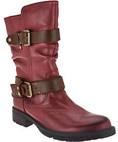 Earth Leather Mid Calf Boots w/ Buckles - Everwood