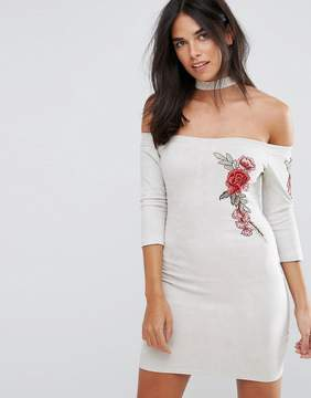 AX Paris Gray Suede Embroidered Bodycon Dress