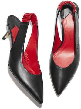 Paul Andrew Carpathian Kitten Heel in Black/Lipstick Red, Size IT 36