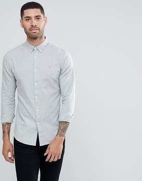 Farah Mews Slim Fit Jacquard Weave Shirt In Gray
