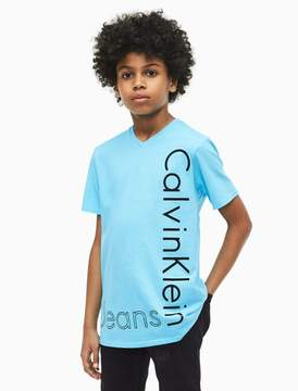 Calvin Klein boys side logo v-neck t-shirt