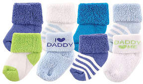 Luvable Friends Blue & Green 'I Love Daddy' Eight-Pair Sock Set - Infant