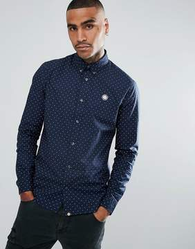 Pretty Green Long Sleeve Polka Dot Shirt In Navy