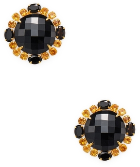 Bounkit Women's Faceted Onyx & Citrine Stud Earrings
