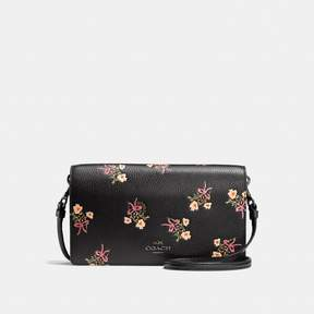 COACH Coach Foldover Crossbody Clutch With Floral Bow Print - BLACK/BLACK COPPER - STYLE