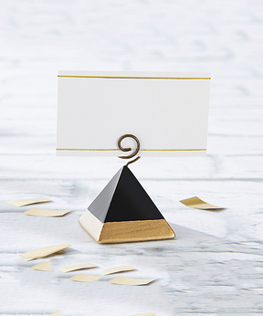 Gold Dipped Pyramid Place Card Holder - Set of 12