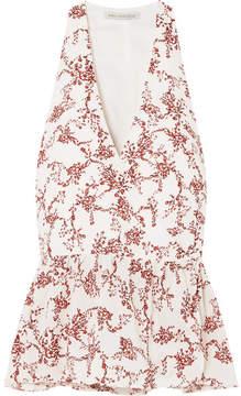 Emilia Wickstead Lucie Floral-print Crepe Peplum Wrap Top - Red