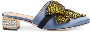 Gucci Satin slipper with removable crystal bow