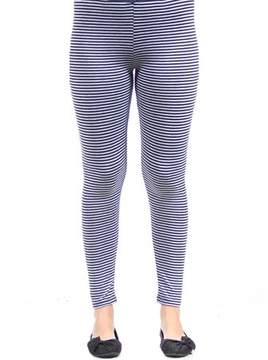 24/7 Comfort Apparel Women's Navy/Grey Stripped Leggings