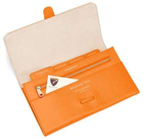 Aspinal of London | Classic Travel Wallet In Orange Lizard Cream Suede | Orange lizard cream suede