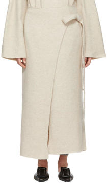 LAUREN MANOOGIAN Beige Cashmere Wrap Blanket Skirt