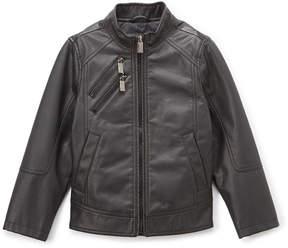 Urban Republic Black Zip-Pocket Faux Leather Jacket - Boys