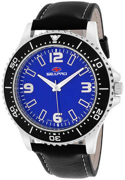Seapro Tideway Mens Blue Dial and Black Leather Strap Watch