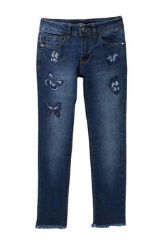 Bebe Butterfly Embroidered Skinny Jean (Big Girls)