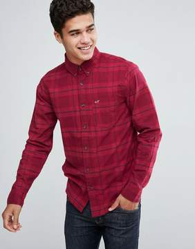 Hollister Poplin Shirt Tonal Check Slim Fit in Red