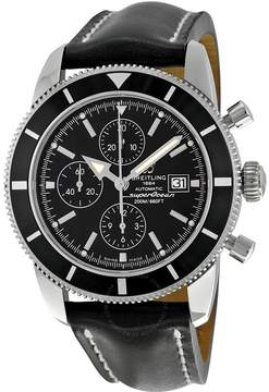 Breitling Superocean Heritage Chronograph Black Dial Black Leather Men's Watch