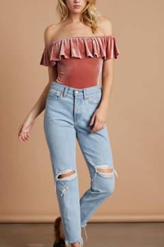 Cotton Candy Velvet Ots Bodysuit