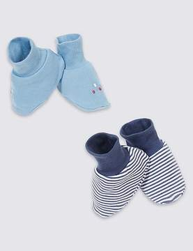 Marks and Spencer 2 Pack Pure Cotton Striped Car Booties