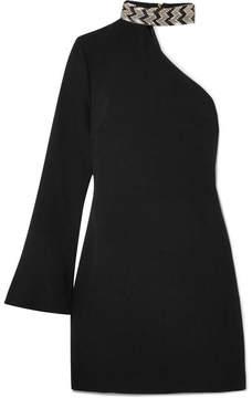 Rachel Zoe Quinton One-shoulder Embellished Crepe Mini Dress - Black