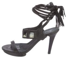 Henry Beguelin Embossed Ankle Strap Sandals